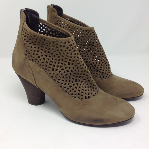 Audley London Taupe Leather Lattice Ankle Booties